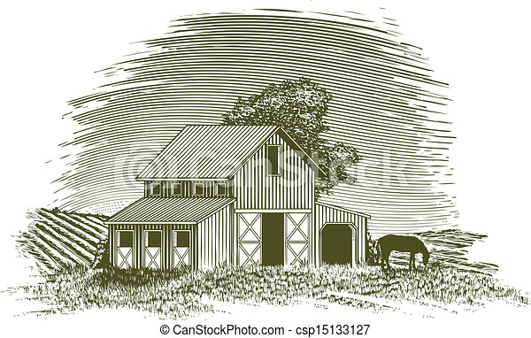 Woodcut Horse Barn Style Illustration Of A Vector