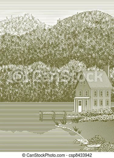 Woodcut Lake House - csp8433942