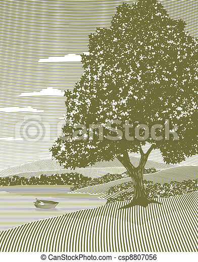 Woodcut Lake Landscape - csp8807056
