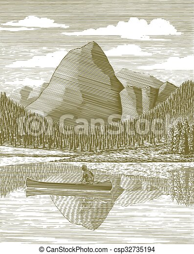 Woodcut Man and Canoe - csp32735194