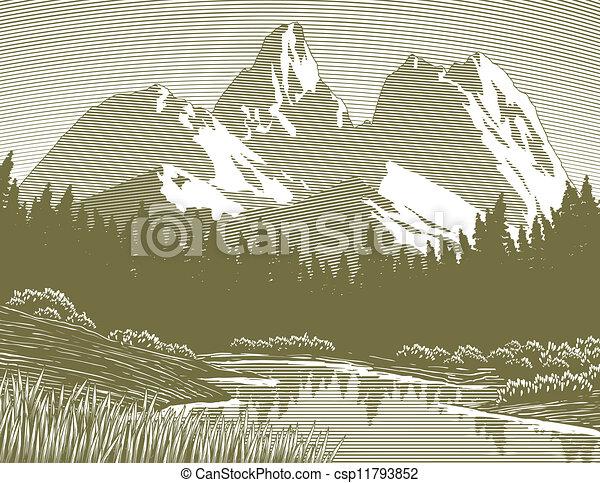 Woodcut Mountain Lake Scene - csp11793852