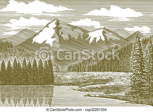 Woodcut Mountain River - csp32261004