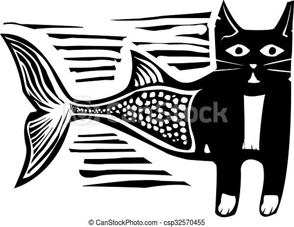 woodcut, poisson-chat - csp32570455