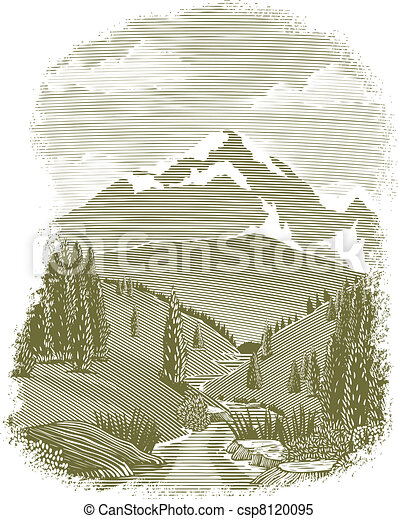 Woodcut River Scene Vignette - csp8120095