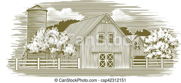 Woodcut Rustic Barn Illustration Of An Old