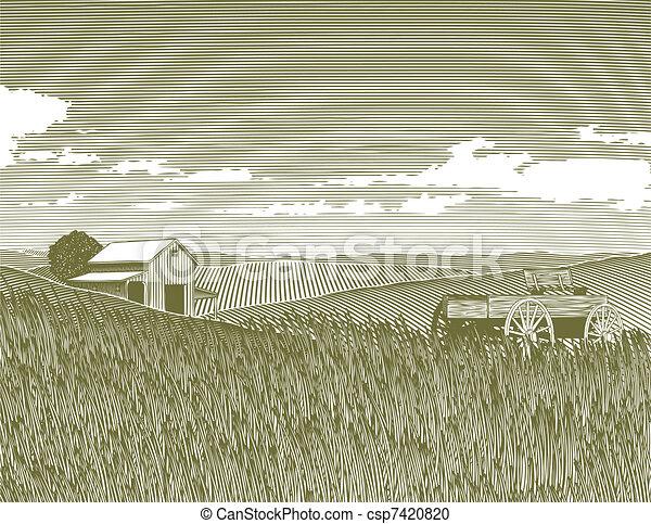 Woodcut Vintage Farm - csp7420820