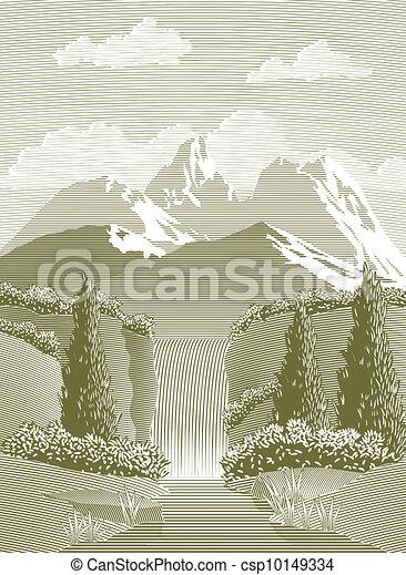 Woodcut Waterfall - csp10149334