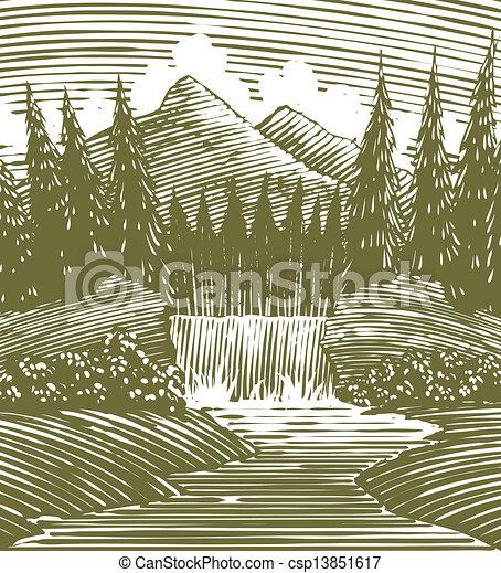 Woodcut Waterfall Wilderness - csp13851617