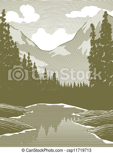Woodcut Wilderness River Scene - csp11719713