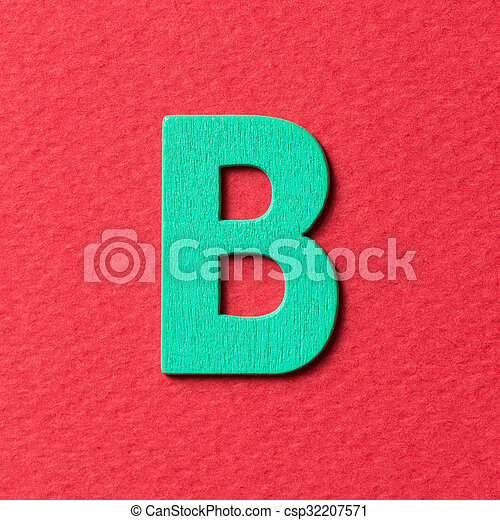 Wooden alphabet B in capital letter - csp32207571