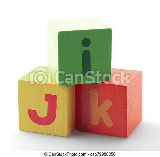 Wooden Alphabet Blocks Isolated On White Background - csp79988356