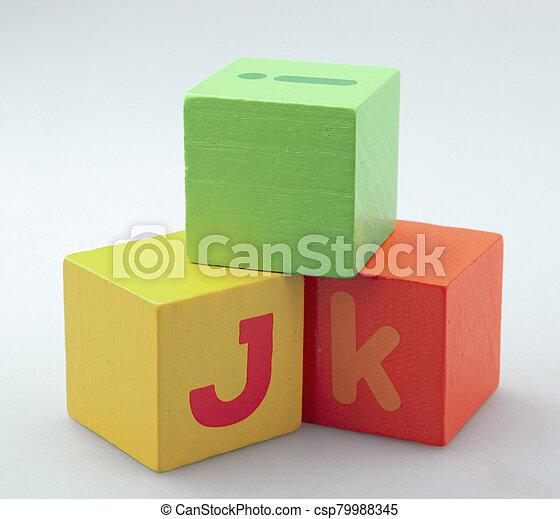 Wooden Alphabet Blocks Isolated On White Background - csp79988345