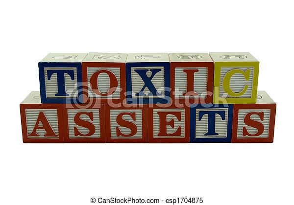 Wooden Alphabet Blocks Spelling Toxic Assets - csp1704875