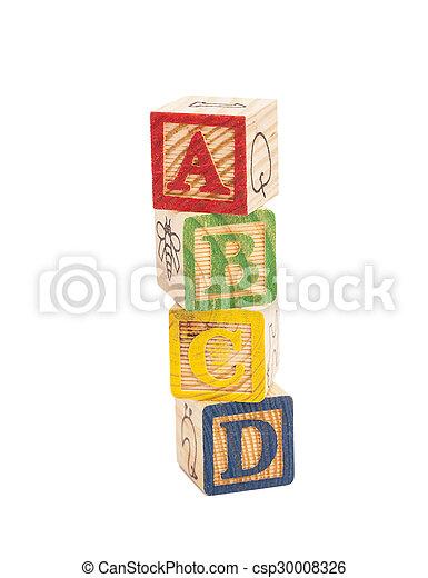 Wooden alphabet blocks - csp30008326