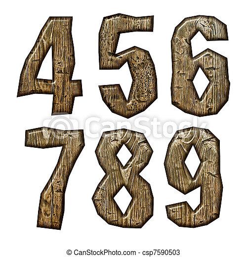 Wooden alphabet isolated on white background. - csp7590503
