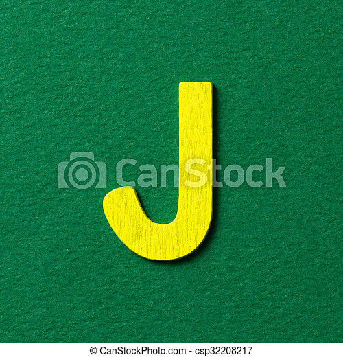 Wooden alphabet J in capital letter - csp32208217