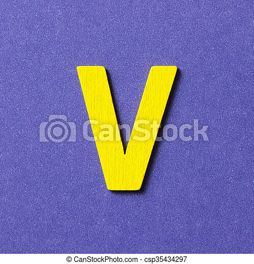 Wooden alphabet V in capital letter - csp35434297