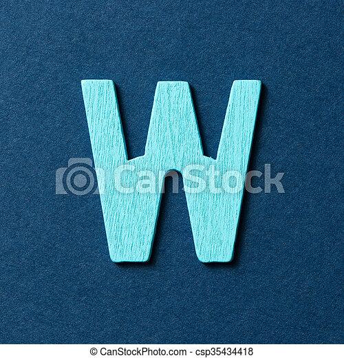 Wooden alphabet W in capital letter - csp35434418