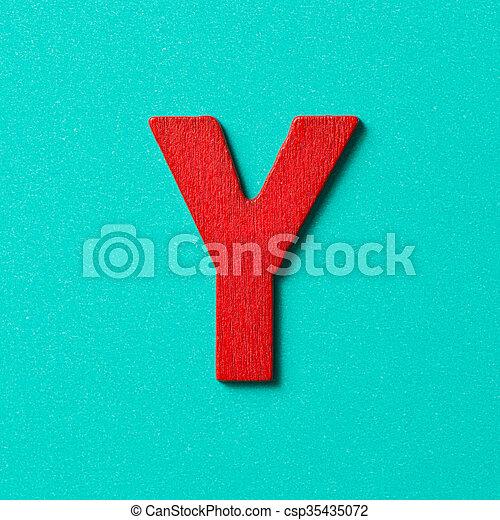 Wooden alphabet Y in capital letter - csp35435072