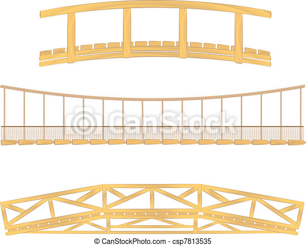 wooden and hanging bridge vector - csp7813535