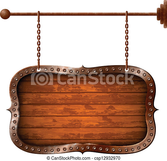 Wooden and metallic aged signboard - csp12932970