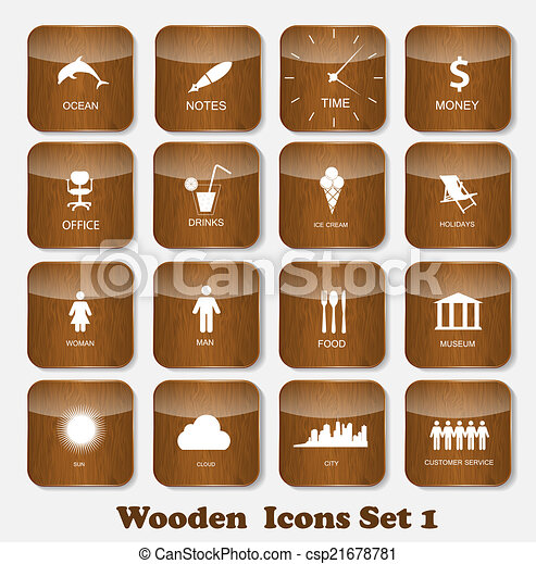 Wooden Application Icons Set Vector Illustration - csp21678781
