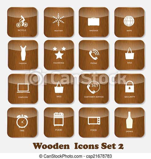 Wooden Application Icons Set Vector Illustration - csp21678783