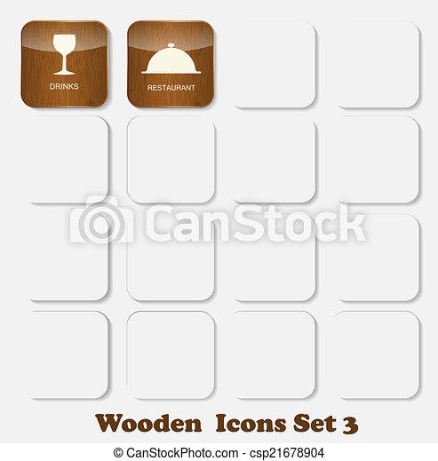 Wooden Application Icons Set Vector Illustration - csp21678904