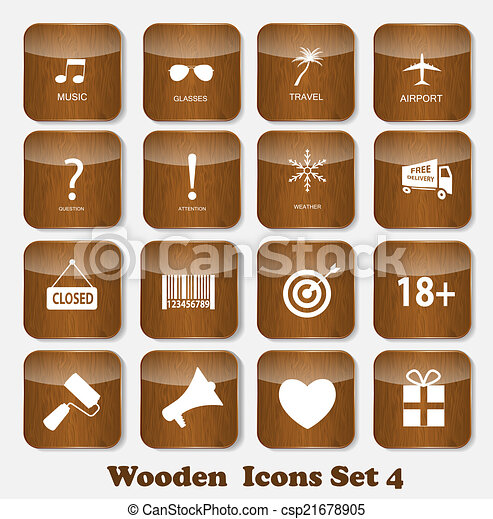Wooden Application Icons Set Vector Illustration - csp21678905