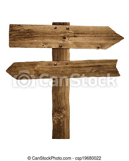 Wooden arrow sign post or road signpost - csp19680022