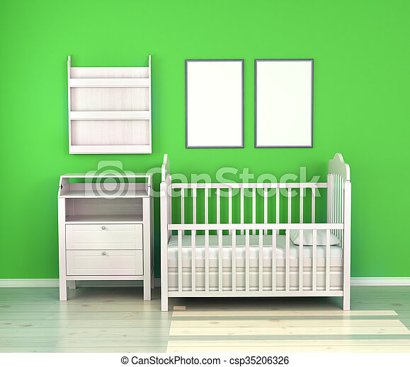 wooden baby bed in the room against the wall - csp35206326