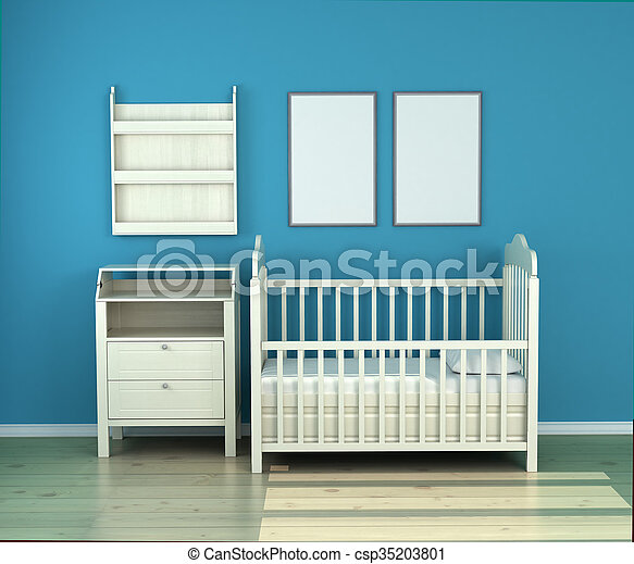 wooden baby bed in the room against the wall - csp35203801