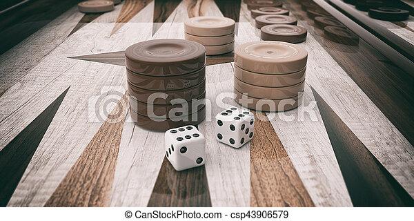Wooden backgammon board. 3d illustration - csp43906579