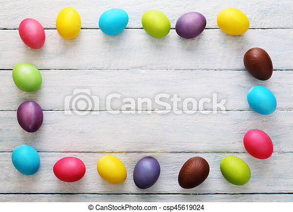 Wooden Background with eggs. Top view - csp45619024