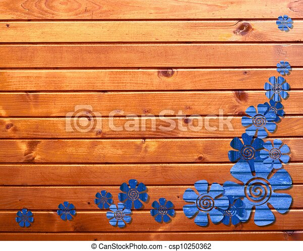wooden background with flowers - csp10250362