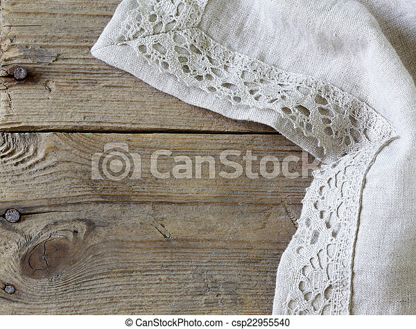 wooden background with napkin - csp22955540