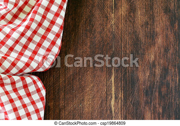 Wooden background with towel - csp19864809