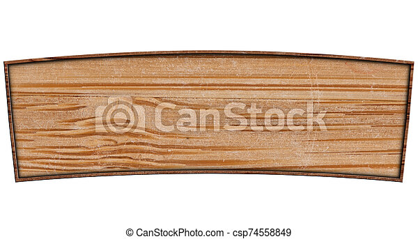 Wooden banner isolated on a white background - csp74558849