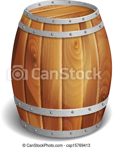 wooden barrel  - csp15769413