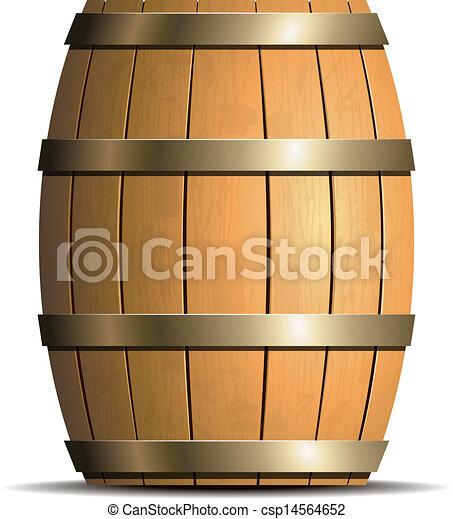 Wooden barrel vector - csp14564652