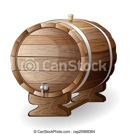 wooden barrel vector illustration - csp20968364