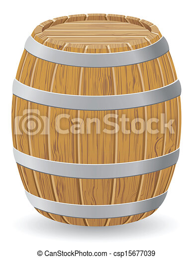 wooden barrel vector illustration - csp15677039