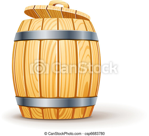 wooden barrel with lid - csp6683780