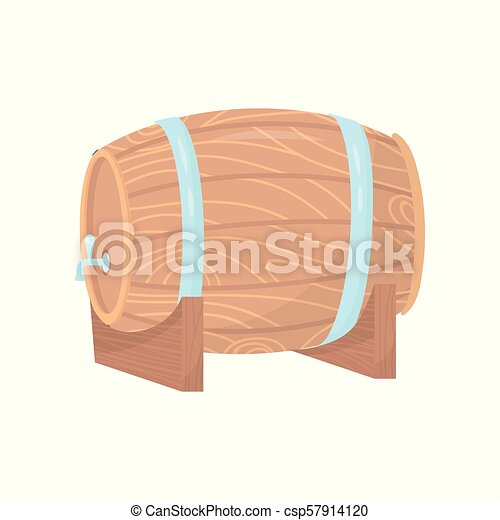 Wooden Barrel With Metal Tap And Hoops On Stand Container For Beer Or Wine Flat Vector Element For Poster Of Winery Or Brewery