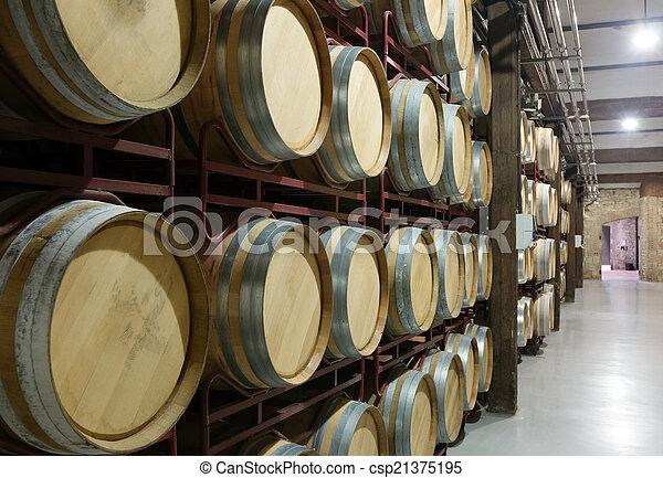 wooden barrels in  winery - csp21375195
