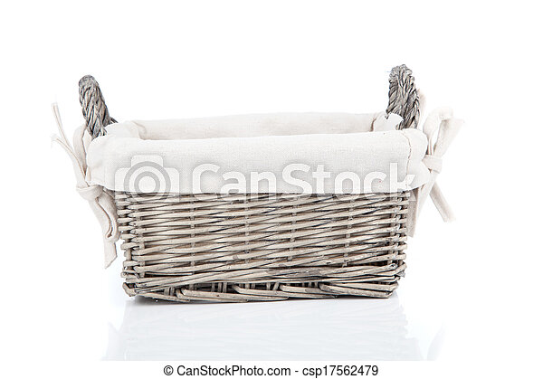 wooden basket, isolated on a white background - csp17562479