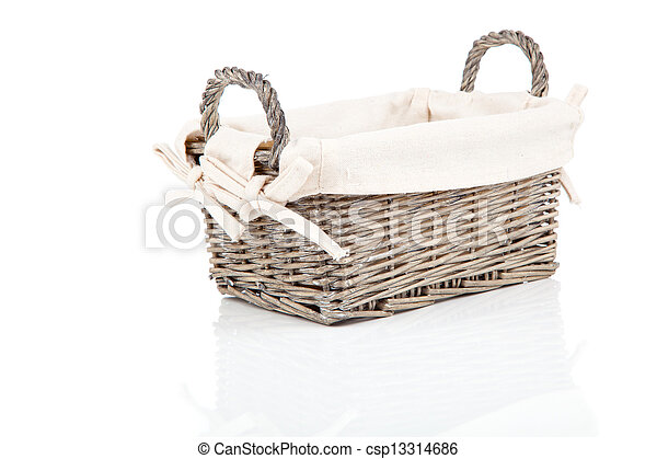 wooden basket, isolated on a white background - csp13314686