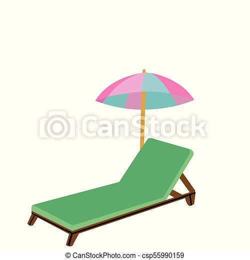 Wooden beach chair and umbrella - csp55990159  sc 1 st  Can Stock Photo & Wooden beach chair and umbrella. Cartoon style wooden beach chair ...