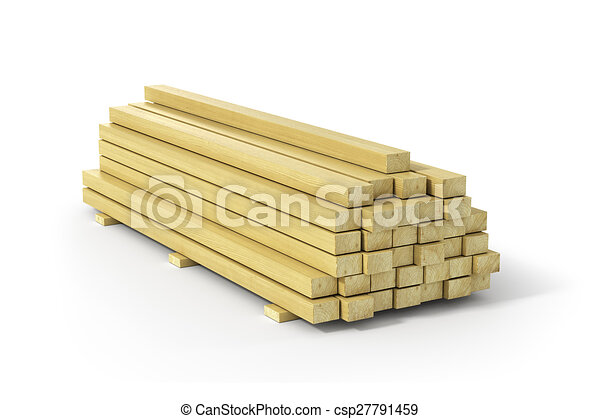 Wooden beams and planks. Construction material. - csp27791459