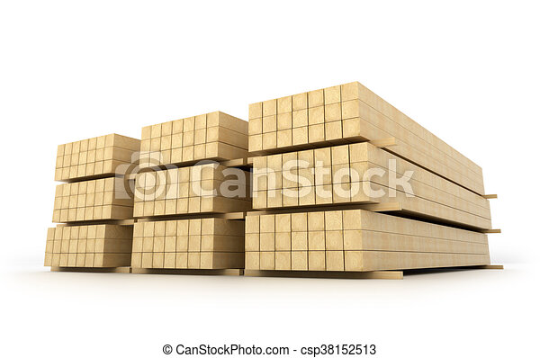 Wooden beams for the building on a white background. 3D illustration - csp38152513